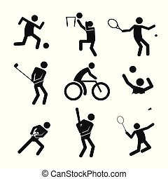 Sport Figure Symbol Vector Illustration Graphic Set