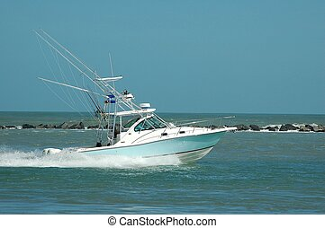 Sport Fishing Boat - Photographed boat entering ocean from ...