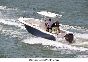 Sport Fishing Boat - Sport fishing boat powered by a single...