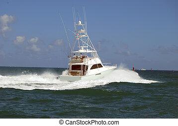 Sport Fishing Boat - Chartered sportfishing boat leaving...