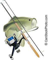 sport fishing - fishing pole with fish