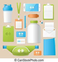 Sport Fitness Corporate Identity Template Set. Gym Club Stationary Mockup. Personal Branding. Vector illustration