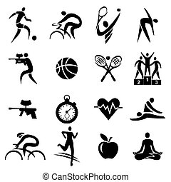 Black Icons with sport, fitness and healthy lifestyle activities. Vector illustration.