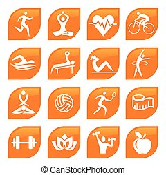Sport Fitness Icons Buttons.