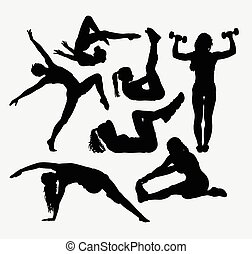 Sport fitness silhouettes