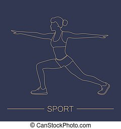 Sport fitness woman exercise workout silhouettes.
