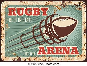 sport, football américain, métal, rugby, rouillé, plaque