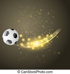 Sport Football Icon with Sparcles and Flares on Dark...
