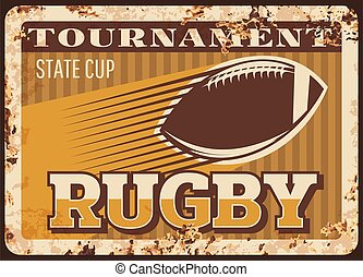 sport, football, métal, américain, rugby, rouillé, plaque