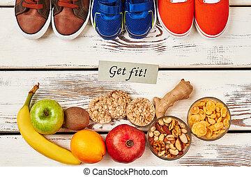 Sport footear and organic food.