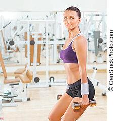 sport frau, auflösen gewichten, turnhalle