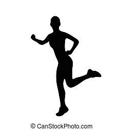 sport frau, laufen, silhouetten
