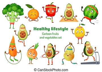 Sport fruits and vegetables. Healthy lifestyle mascots, fruit sports exercise and avocado yoga workout cartoon vector illustration set