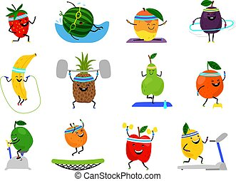 Sport fruits characters. Funny fruit foods on sport exercises, vector fitness vitaminic human healthy nutrition