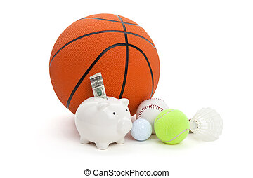 Sport fund - Piggy Bank and balls, concept of sport fund