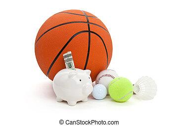 Sport fund - Piggy Bank and balls, concept of sport fund