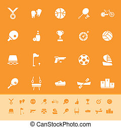 Sport game athletic color icons on orange background