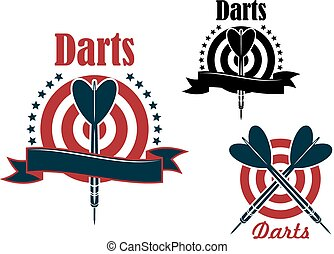 Sport game emblem with darts and board