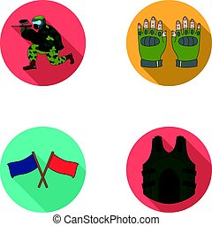 Sport, game, paintball, competition .Paintball set collection icons in flat style vector symbol stock illustration web.