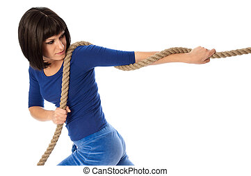 sport game - The strong-willed woman plays of pulling of a ...