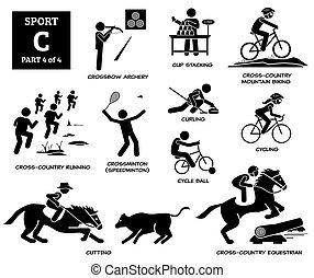 Sport games alphabet C vector icons pictogram.