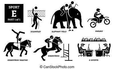 Sport games alphabet E vector icons pictogram.
