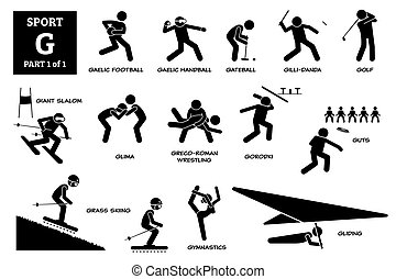 Sport games alphabet G vector icons pictogram.