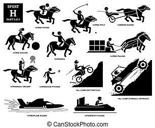 Sport games alphabet H vector icons pictogram.