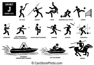 Sport games alphabet J vector icons pictogram.