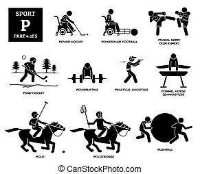 Sport games alphabet P vector icons pictogram.