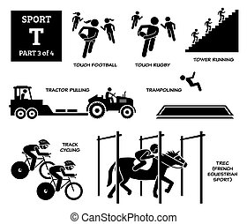 Sport games alphabet T vector icons pictogram.