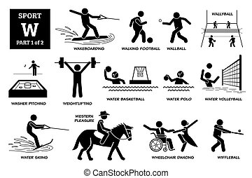 Sport games alphabet W vector icons pictogram.