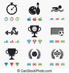 Sport games, fitness icon. Football, tennis.