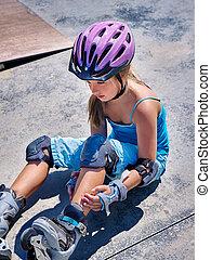sport, girl, à, blessure, près, elle, skateboard, outdoor.