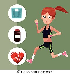 sport girl exercise healthy icons