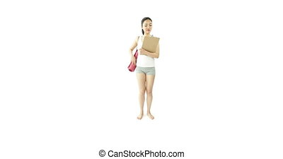 sport girl isolated on white happy with check list