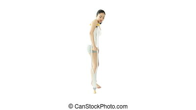 sport girl isolated on white injured with crutch