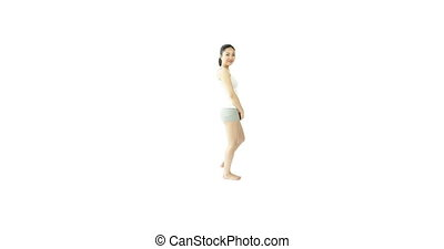 sport girl isolated on white smiling with arm curl