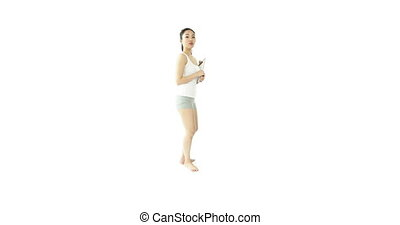 asian 20 years old girl isolated on a white background