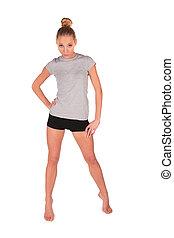 Sport girl stands