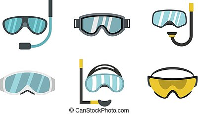 Sport glasses icon set, flat style