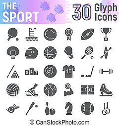Sport glyph icon set, fitness symbols collection, vector sketches, logo illustrations, game signs solid pictograms package isolated on white background, eps 10.