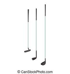 Sport golf clubs cartoon vector Illustration isolated on a...