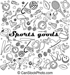 Sport goods line art design vector illustration
