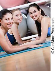 sport, groupe, avoir, repos, femmes