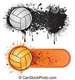 sport, grunge, siatkówka, atrament