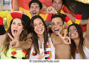 sport, gruppe, tysk, entusiastiske, victory., fejr, vifte, ...
