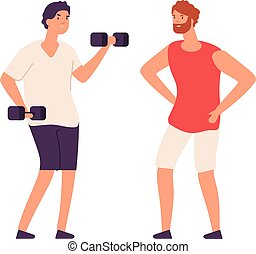 Sport guy swinging with dumbbells. Sporting workout with personal trainer. Isolated flat bodybuilder vector character