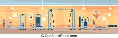 Sport Gym Interior Workout Equipment Flat Vector...