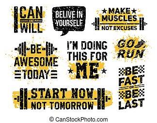 sport, gymnase, fitness, caractères, motivation, ensemble
